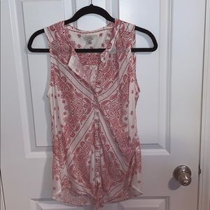 Red and white flowy Lucky Brand tank top.
